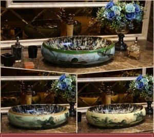 Glasierter Lotus Oval Europe Style Handgearbeitete Aufsatzwaschbecken aus Keramik Waschbecken