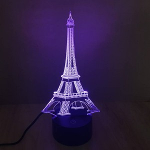 Bunte Eiffelturm 3D Tischlampe kreative 3D Illusion Nachtlichter Touch-Schalter 7 Farbverlauf Deko LED Schreibtischlampe als Geschenk