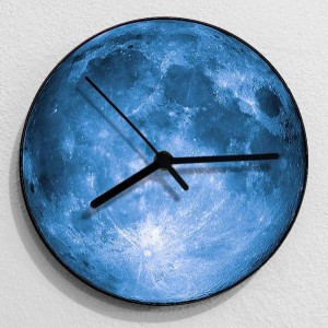kreative 3D Moon Wanduhr Wohnzimmer Schlafzimmer Wandbehang Uhr grau blau Mond stumm shabby chic Uhren