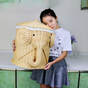 Aufbewahrungskorb für schmutzige Kleidung Aufbewahrungskorb für schmutzige Kleidung Spielzeug-Handschuhfach-Rattan Rustikaler Korbregal-Kleidungseimer mit großem Stoff