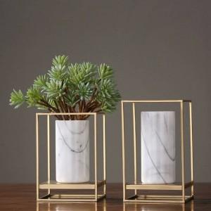 Europäische Legierung Marmor Kombination Vase Dekoration Home Tischdekoration Blumenarrangement