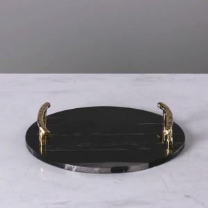 Europäischen schwarzen Marmor runden Tablett Luxus Edelstahl Griff Schmuck Platte dekorative Platte
