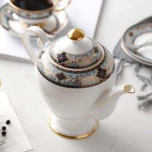 European Bone Dried Fruit Plated Gold Snack Teller Spieß Englisch Nachmittag Teekanne Knochen Kaffeekanne Set Geschenke