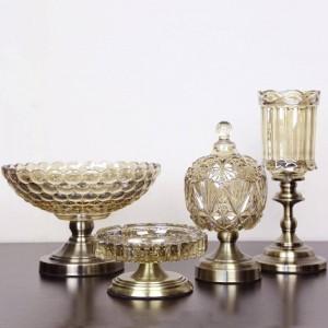 Europäische Obstteller Kristallglas Obstschale dreiteilige moderne Luxus dekorative Verzierungen