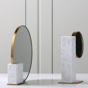 Europäischen Minimalistischen Luxus Metall Marmor Glas Spiegel Dekoration Weiche Dekoration Schlafzimmer Desktop Dekoration Gifs