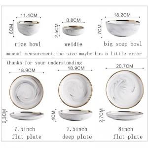 Europäischen Stil Keramik Marmor Textur Spaghetti Platte Gold Grenze Geschirr Gemüse tiefe Gerichte Reis Schüssel Suppe Nudelschalen