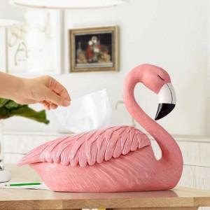 Flamingo-Statuendekoration für Zuhause-Hotelrestaurant-Gewebehalter-Tischplattenharz verziert dekorativen Handwerks-Gewebekasten