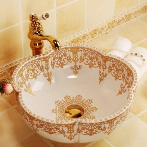 Blumenform Waschbecken aus Keramik für Badezimmer Aufsatzwaschbecken Waschbecken aus Weißgold mit Muster