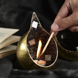 Goldener tropfender Kerzenhalter-handgemachte Weinlese-Luxusbankett-Stab-Schmuck-Verzierungen