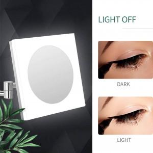 Ausziehbarer Kosmetik Kosmetikspiegel mit LED-Beleuchtung und 10X / 7X / 5X Vergrößerung, Chrom poliert, quadratisch