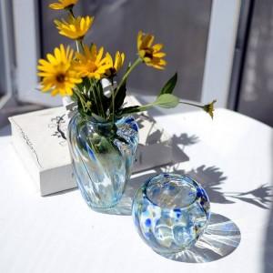 Hochwertige bunte Glasvase Mini Blumenvase Hochzeitsfest Dekor Kristall Vase