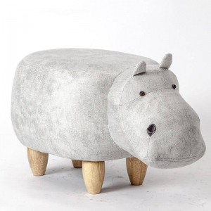 Hippo Shaped Animal Ottoman Storage Fußstütze Hocker Gepolsterter gepolsterter Sitz Hippo Hocker Pouf Entzückende Bank als Kindergeschenk, Spielzeugkiste
