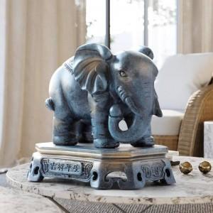 Hauptdekorationzusätze glückliche Elefantpaarfigürchenharz-Statuenverzierungen für Wohnzimmerbürotischplatte für Geschenk