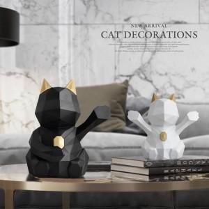 Heimtextilien Katze Figur für Home Office Statue für Tischplatte Schreibtisch Ornamente Dekor geometrische Harz glückliche Katze Skulptur