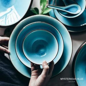 Eis-gebrochenes Glasurgeschirr stellte das keramische Reisschüsselsuppenschüsselsuppenlöffel-Teller-Mikrowellenherd-Safe des Haushaltsgeschirrs ein