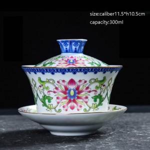Keramik blau und weiß Porzellan Vintage Gaiwan mit Deckel Kit Home Drinkware Kung Fu Tee-Set kurze Teekanne geschickt Freund