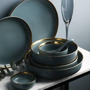 KINGLANG 2 oder 4 oder 6 Personen Set Golden Edge Teller Keramik Geschirr Set NEU Blau Golden Keramik Geschirr Set