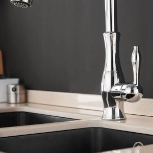 Küchenarmaturen Chrom Einhebelmischer Ausziehbar Einlochmontage Drehbar 360 Grad Wassermischbatterie Mischbatterie 866011