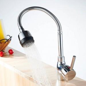 Küchenarmaturen Silber Einhebel-Küchenmischer Kalt- und Warmwasserhahn Einlochmontage Wasserhahn torneira cozin Crane YC-CF2086