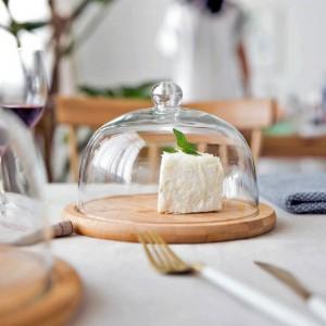 MDZF SWEETHOME Kuchentablett mit Glasdeckel Snackplatte Obsttablett Dessertteller Dim Sum Dish
