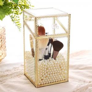 Metall glas transparent aufbewahrungsbox staubschutz abdeckung schminktisch schmuck kosmetik pinsel barrel schmuckschatulle geschenk