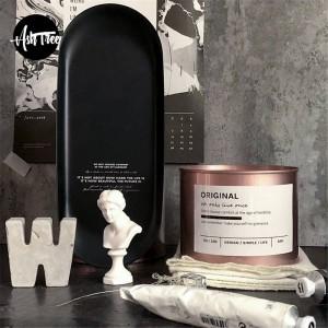 Minimalistische Black Metal Office Tischplatte mit Schriftzug schicke skandinavische Nordic Home Desk Ablagefach Veranstalter Dekor