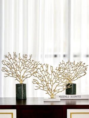 Moderne Wohnaccessoires Kupfer Gold Korallen Ornamente Modellzimmer Wohnzimmer Marmor Handwerk Dekorationen