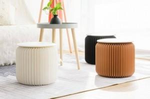 Moderner Papierhocker Faltbarer kompakter, robuster und tragbarer Niedriger Hocker mit Wabenstruktur für Umkleidekabinen, Ausstellungshallen