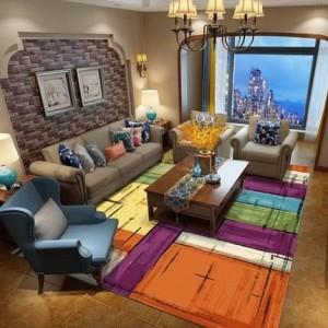 Amerikanisches Landschlafzimmer des nordischen abstrakten modernen unbedeutenden Kunstwohnzimmer-Couchtischteppichs voll des Hauptteppichs