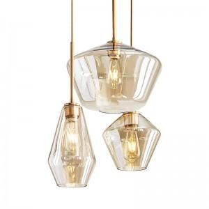 Nordic postmodernen LED-Glaspendelleuchten voller Kupfer Foyer Esszimmer Studie Schlafzimmer Droplight klar und Champagnerglas