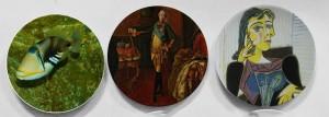 Dekorativer Teller des berühmten Ölgemäldes Picassos spanische abstrakte Wandbehanghandwerkstellerhaus- / hoteldekorrunde Platte