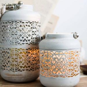 Handgemachte Vintage Antik Metall mit Glas Laterne durchbohrt