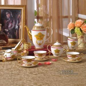 Porzellan Geschirr Set Knochen Mode Heimtextilien Umriss in Gold 58pcs Geschirr Sets Abendessen Set Kaffee Set Geschenk