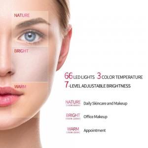 Professionelle 7 Zoll Professional Travel Standing Make-up Kosmetikspiegel 66 LED-Leuchten Dimmbar 1x + Mini 7x Vergrößerung