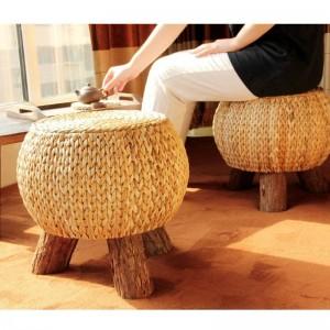 Rattan handgemachte rustikale Runde Hocker Haushalt multifunktionale Holz 3 Bein tragbare Wicker Ottoman Fußstütze komfortables Geschenk