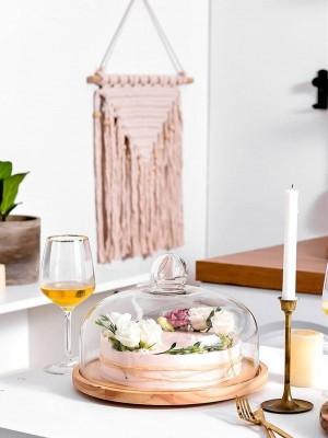 Rotierendes Glas Klarsichtdeckel Obstteller Nachmittagstee Kuchenabdeckung Holzabdeckung West Point Tablett Kuchenteller Dessertteller