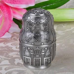 Russische Klassische Matroschka Automatische Zahnstocher Halter Box Metall Kunsthandwerk Vintage Dekoration Kreative Geschenk Ornamente