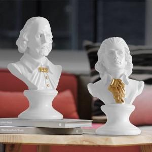 Shakespear & Mozart Kopf Portraits Büste Große Resin Statuen für Heimtextilien Resin Art & Craft Skulptur Sketch Practice