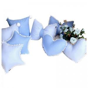Sonderempfehlungskissen Almofada Candy Blue 100% Baumwolle Luxus Prince Room Decor Kissen Crown Bowknot Type Kissen Cute Edge