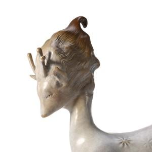 Feenhafte Rotwild-Tier-Skulptur-Zusammenfassungs-Bronzeskulptur-glückliche Tier-Skulptur-Tabellen-Dekor-Skulptur