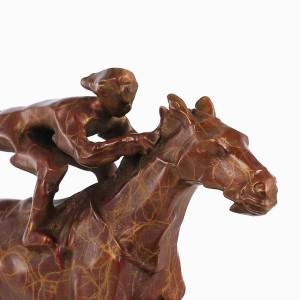 Bronzestatue Pferderennen Modernen Stil Skulptur Wohnkultur Tier für Büro und Heimtextilien Zubehör