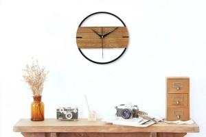 Vintage Wanduhr Einfache Modernes Design Holzuhren für Schlafzimmer 3D Aufkleber Holz Wanduhr Wohnkultur Stille 12 zoll