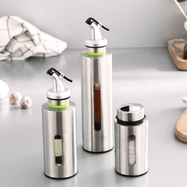 150/250ミリリットルキッチンオイルディスペンサーボトルガラス収納ボトル用酢調味料ステンレス鋼漏れ防止キッチン調味料ボトル