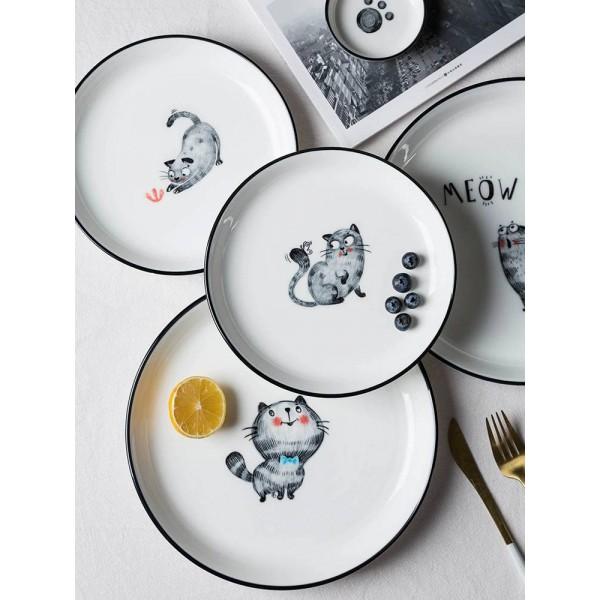 猫楽しい釉薬色セラミック食器プレート家庭用皿麺丼丼