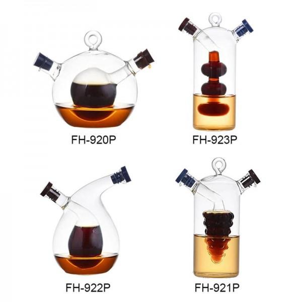 クリエイティブ二重層ガラススパイスボトル漏れ防止オイル酢ソース収納ボトルジャー調味料密封キャスターディスペンサー