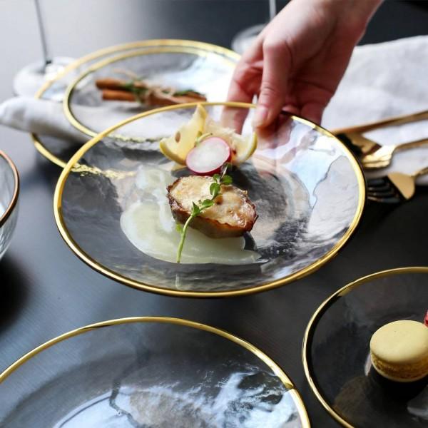 ゴールドインレイボウルプレート食品料理ディナー食事プレートノベルティステーキプレート耐熱ガラスボウルプレート
