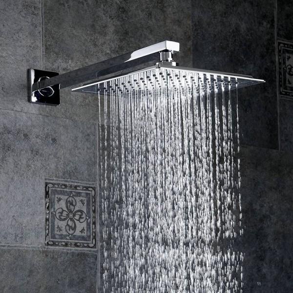 ラグジュアリー シャワーヘッドシルバーABSトップ降雨シャワーヘッドウォールマウントバスルームスクエアオーバーヘッドシャワースプレー薄い水節約FS239, シャワーヘッドシルバーABSトップ降雨シャワーヘッドウォールマウントバスルームスクエアオーバーヘッドシャワー ...