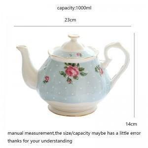 1000ミリリットル牧歌的なスタイルのハンドルコーヒーポットセラミック骨耐熱ミルクポット家の飲み物ジュース茶水やかんの装飾