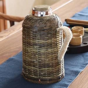 1600ミリリットル断熱ウォーターケトル手作り竹織りウォーターボトルコンテナキッチンアイテムで蓋クリエイティブ真空フラスコ