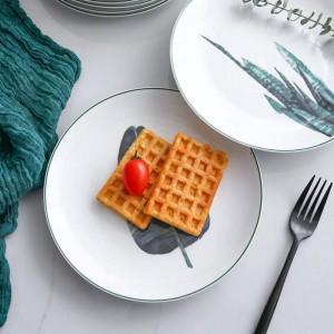 1ピース8インチグリーン植物磁器ディナープレート食器ディナーセットセラミックデザートディッシュ食器ケーキ牛肉ステーキプレート